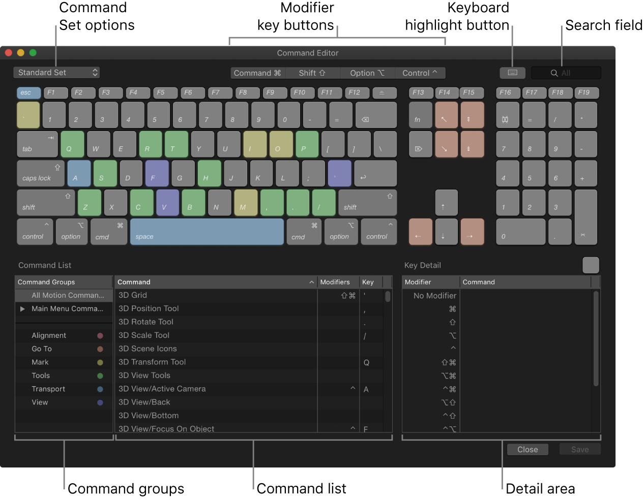 Editor de comandos con las opciones de ajustes de comandos, botones de teclas modificadoras, botón de resalte de teclado, campo de búsqueda, grupos de comandos, lista de comandos y área de detalles de teclas