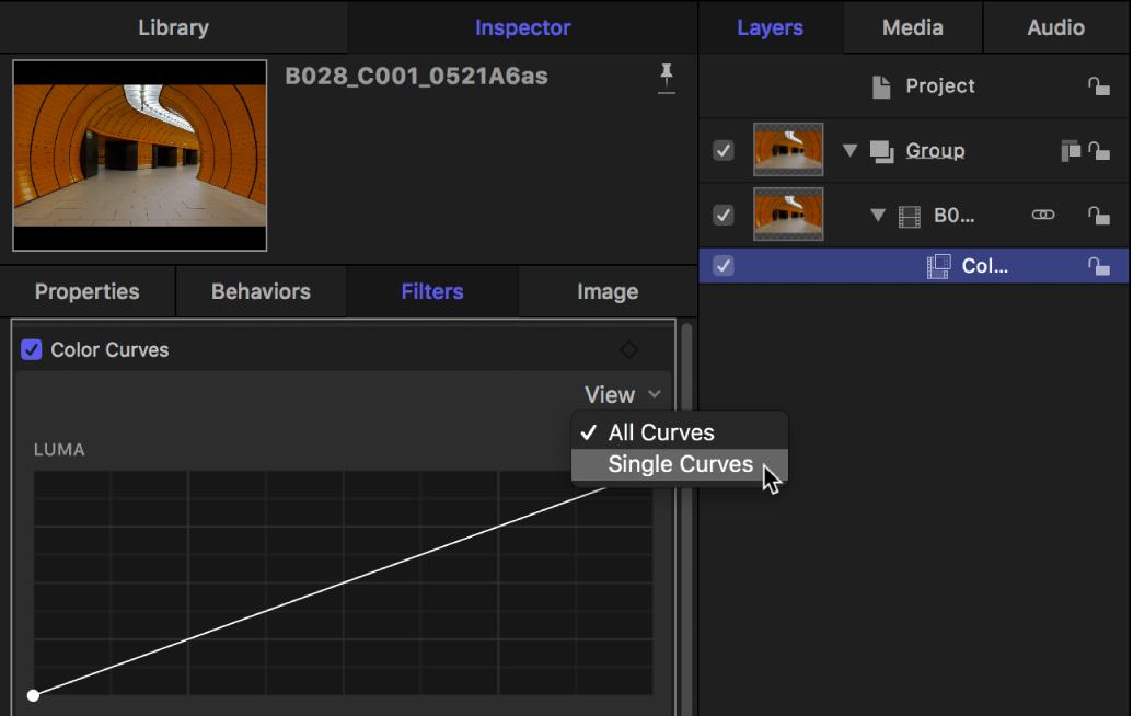 """Opciones de visualización del menú desplegable de la visualización """"Curvas de color"""" en el inspector de filtros"""