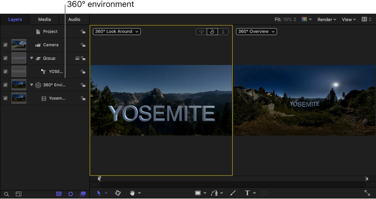 Proyecto con un entorno de 360° en la lista Capas