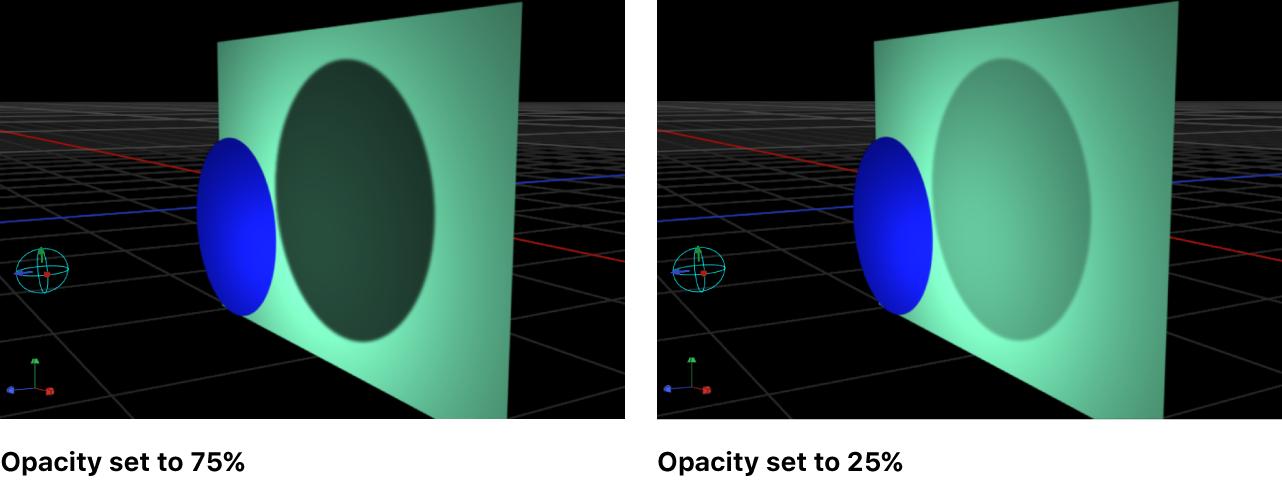 Lienzo y un objeto con la opacidad de sombra ajustada al 75 % y al 25 %