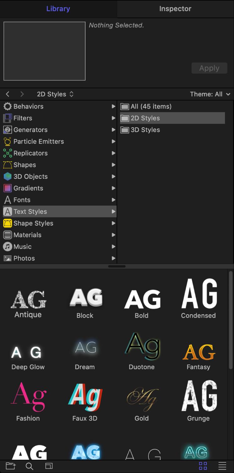Biblioteca con la carpeta de estilos de texto 2D seleccionada