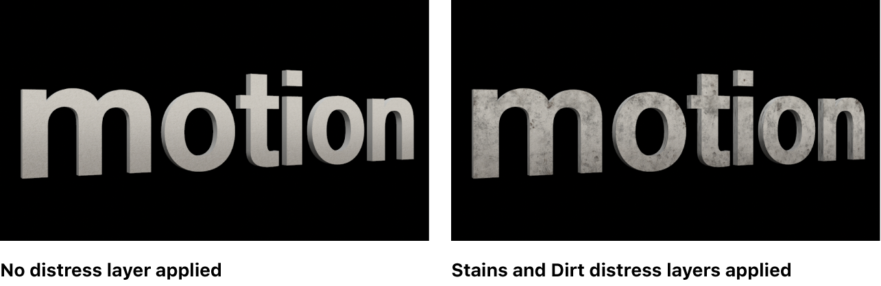Texto 3D en el lienzo sin capas de envejecido aplicadas y con las capas de envejecido Manchas y Suciedad aplicadas