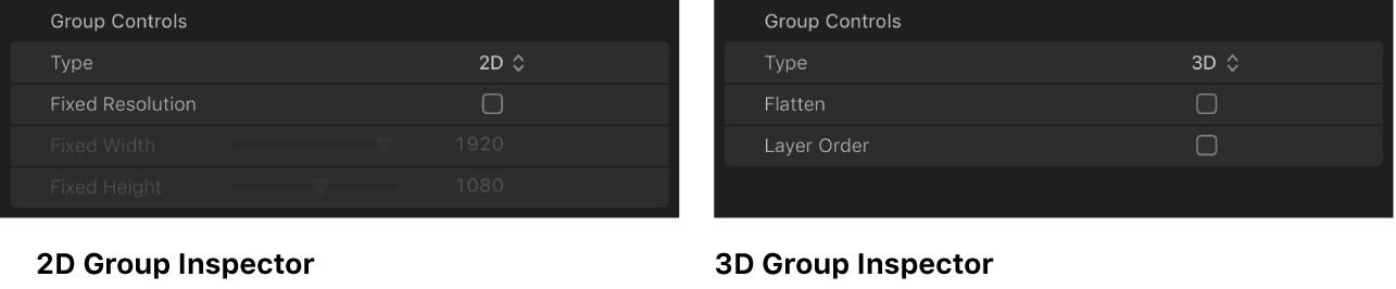 Comparación de inspector de grupos 2D con inspector de grupos 3D
