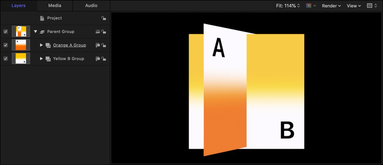 Lista Capas y lienzo, donde se muestran los grupos clasificados en orden de profundidad