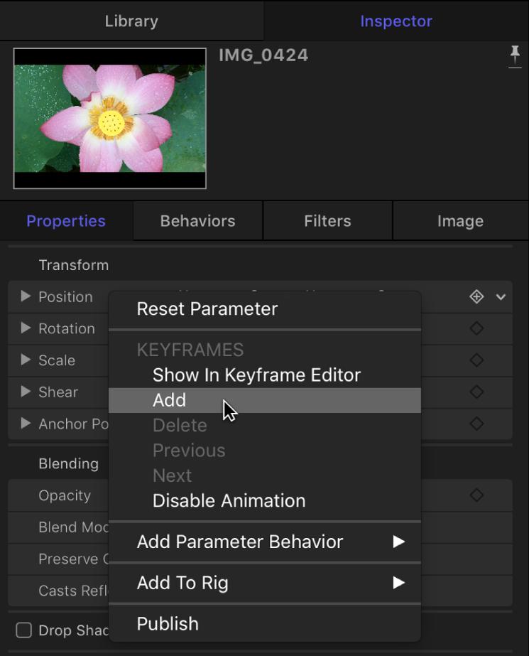 Inspector con el menú Animación de un parámetro de imagen