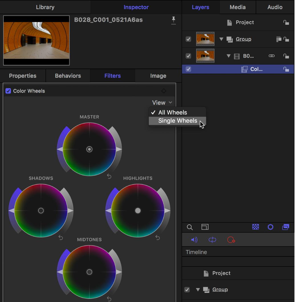 """Los controles de """"Ruedas de color"""" del inspector de filtros con el menú desplegable Visualización"""