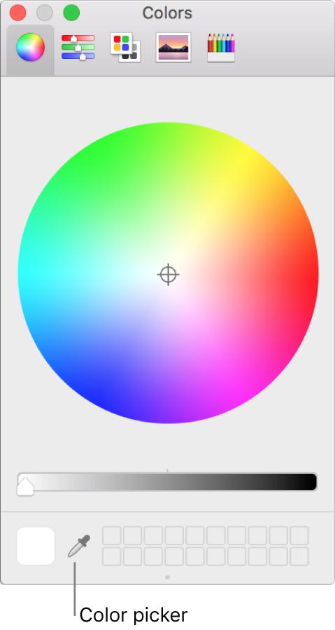 Selector de colores en la ventana Colores de macOS