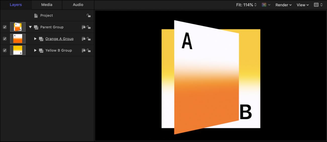 Lista Capas y lienzo, donde se muestran los grupos clasificados en orden de capas