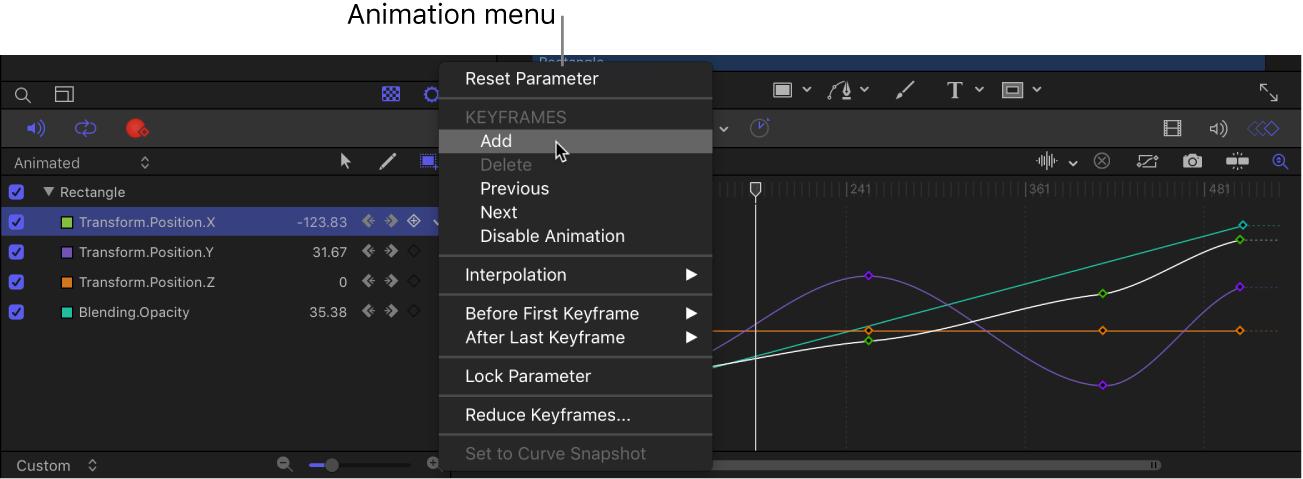 Lista de parámetros del editor de fotogramas clave con el menú Animación