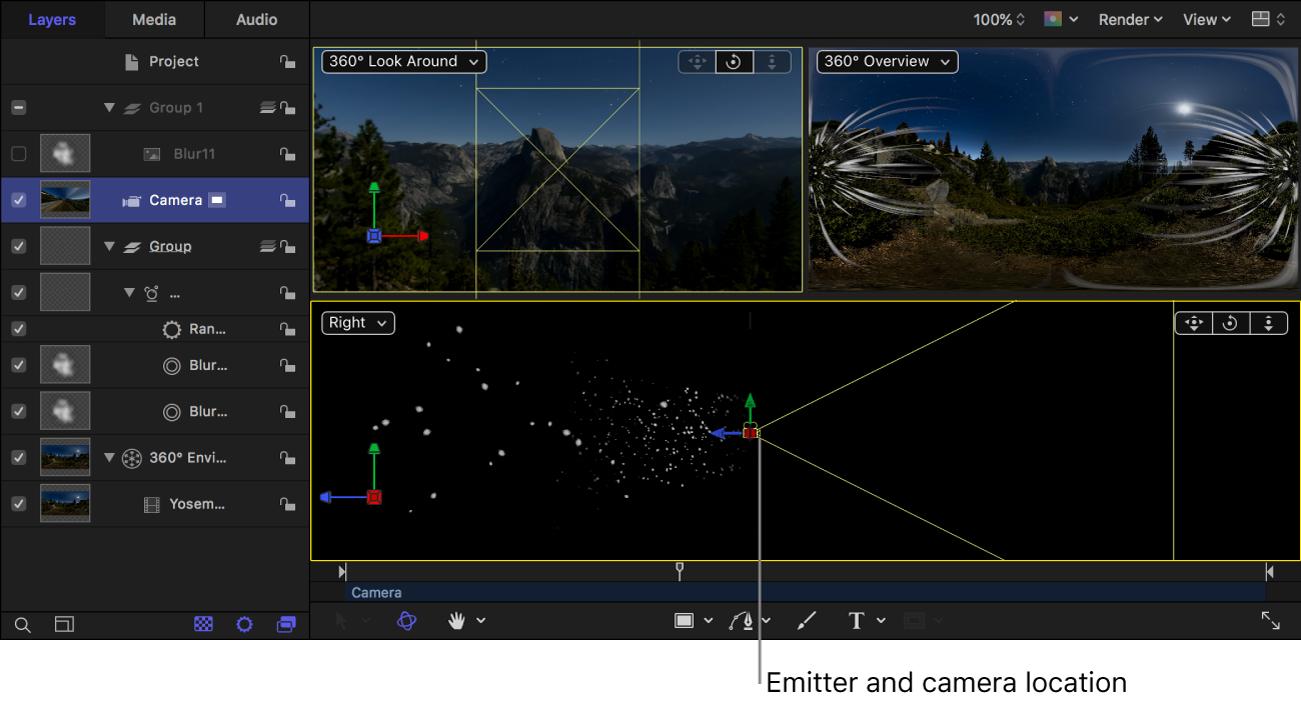 Vista del lienzo 3D con el emisor de partículas y la cámara en la misma ubicación