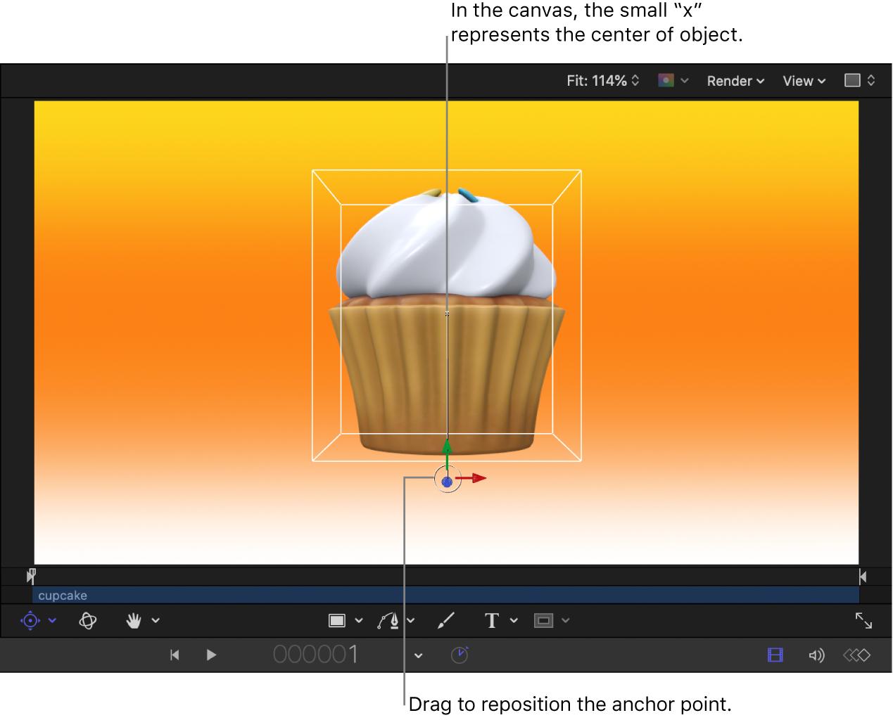 """Lienzo con el punto de anclado de un objeto 3D desviado, el punto central del objeto y los controles en pantalla de """"Punto de anclado"""""""