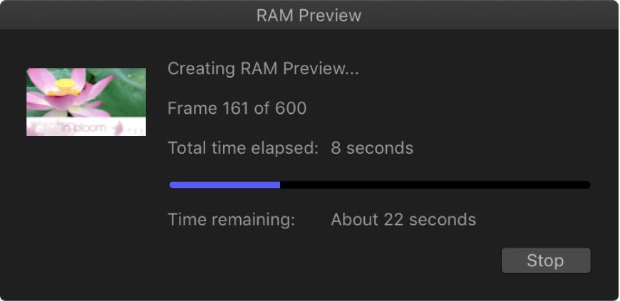 Cuadro de diálogo de progreso de la previsualización RAM