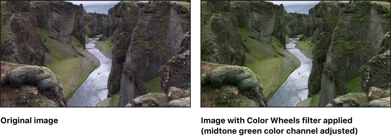 """Lienzo con el efecto del filtro """"Ruedas de color"""" (con el canal de color verde en su región de tonos medios ajustado)"""