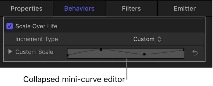 Minieditor de curva contraído en el inspector