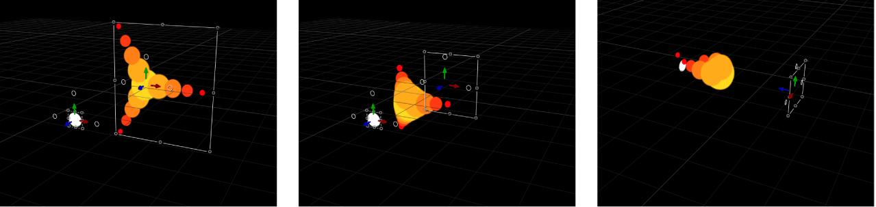 """Lienzo y el replicador en el cual los elementos del diseño se mueven hacia otro objeto (con el comportamiento de simulación """"Atraído hacia"""" aplicado) en el espacio 3D."""