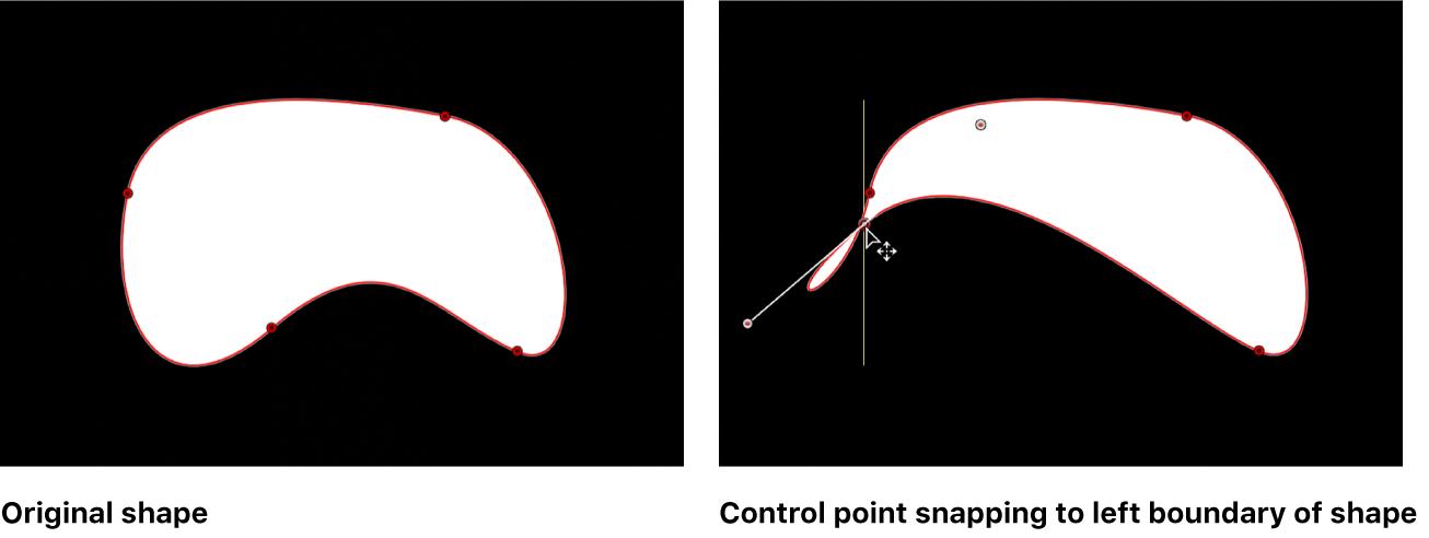 Lienzo y una figura Bézier con una guía que aparece cuando el punto de control está alineado con otro punto de control en la misma figura