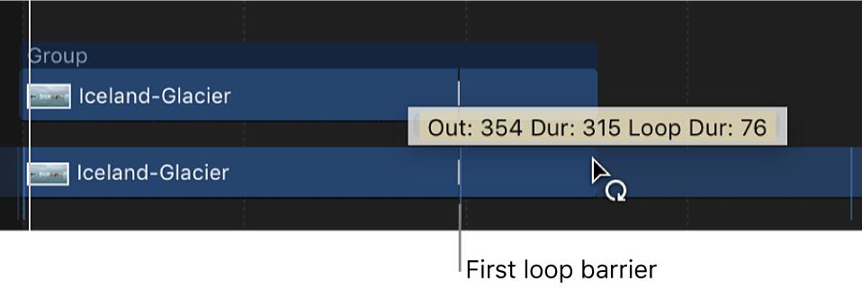 Puntero de bucle y etiqueta de información en la línea de tiempo