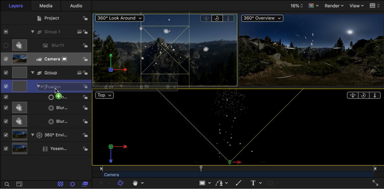 Arrastre de los parámetros de Posición de cámara desde el inspector hasta el emisor de partículas en la lista Capas