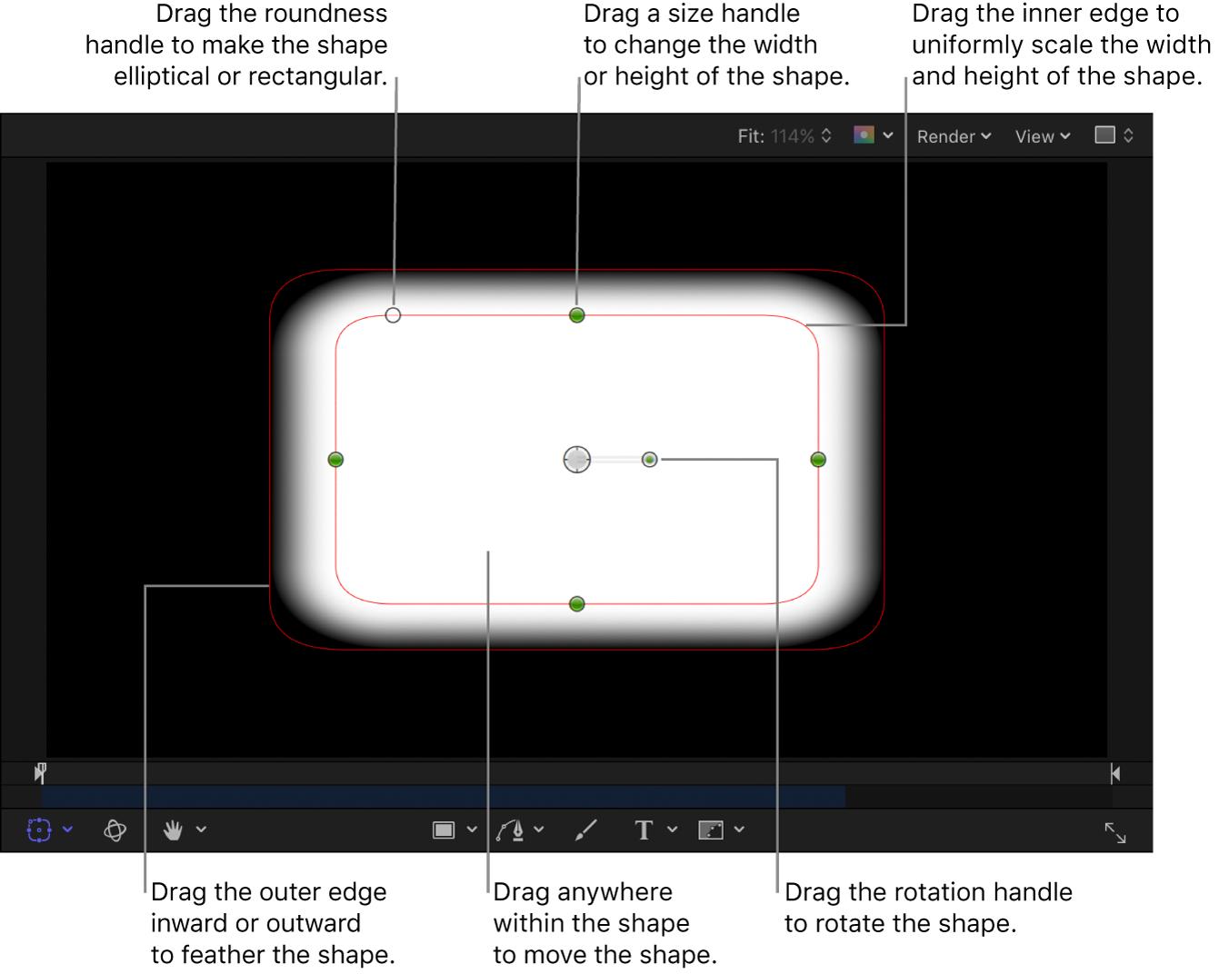 Controles en pantalla para escalar, suavizar, girar y redondear una figura simple
