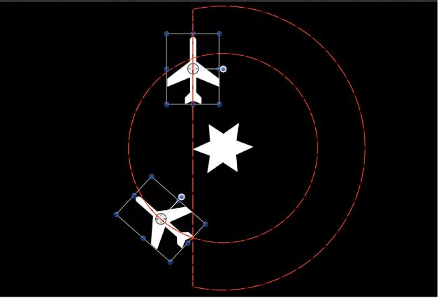 Lienzo y la ruta de animación cuando se aplica el comportamiento Fijar a uno de los objetos en órbita