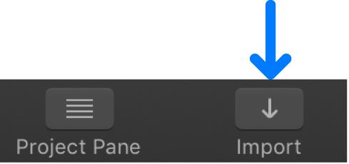 Botón Importar de la barra de herramientas