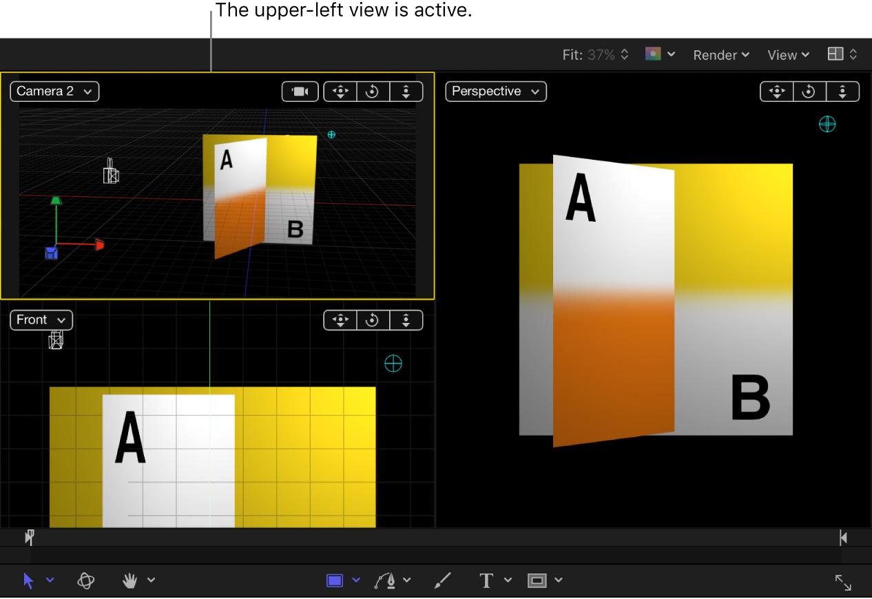 Lienzo con la visualización cuatro arriba y la visualización superior izquierda activa