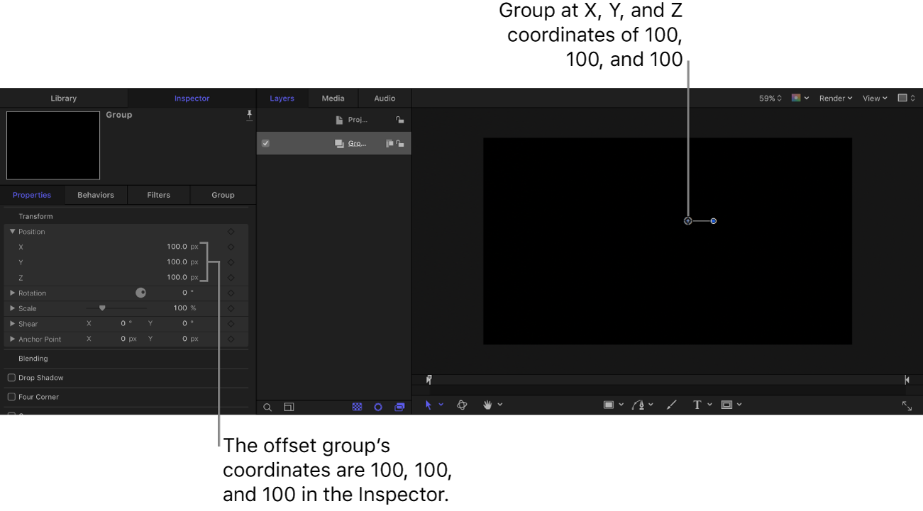 Lienzo e inspector con un grupo situado en las coordenadas: X = 100, Y = 100 y Z = 100