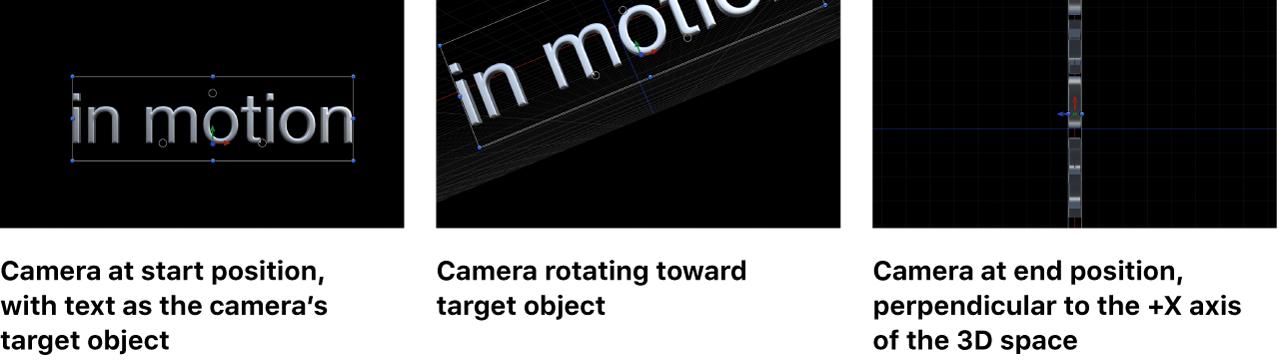 Lienzo que muestra la cámara en su posición inicial, girando hacia el objeto de destino, y en posición final perpendicular al eje +X
