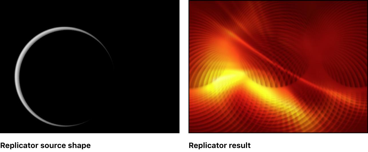 Lienzo que muestra ejemplos de replicadores