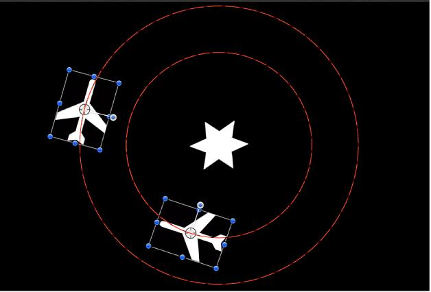 Ventana del lienzo y rutas de animación para dos objetos, con el comportamiento Vórtice aplicado a un tercer objeto