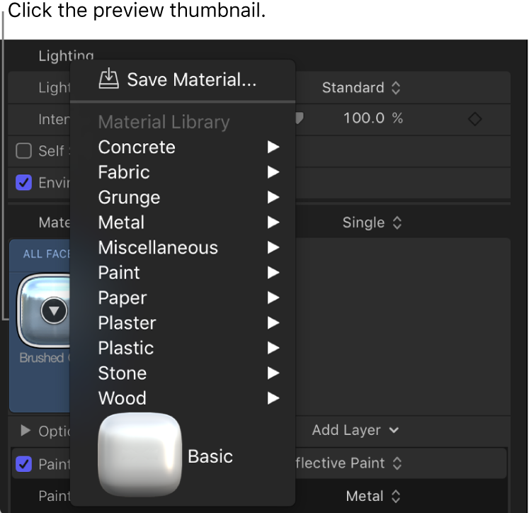 Opciones que se muestran en forma de lista al hacer clic en la miniatura de previsualización de Material en el panel Apariencia del inspector de texto