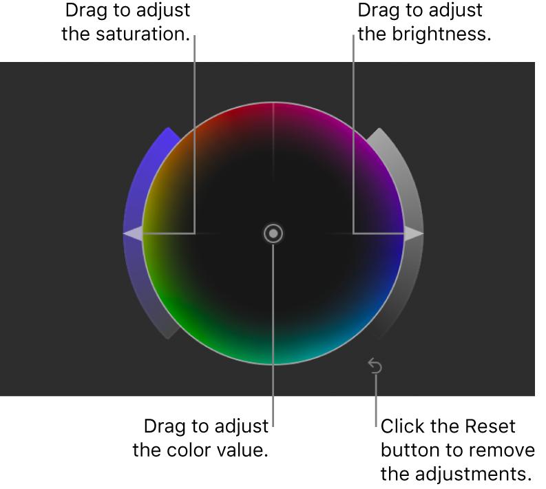 """Controles de """"Ruedas de color"""" en el inspector de filtros"""