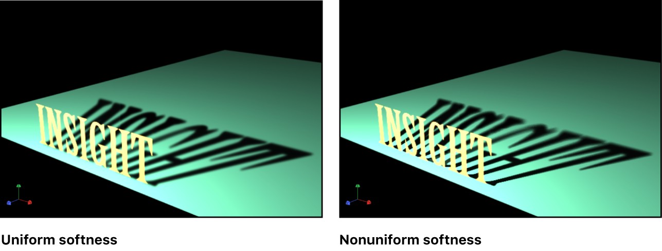 Lienzo y un objeto con el ajuste de suavidad uniforme de la sombra activado y desactivado