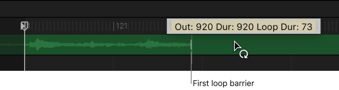 Línea de tiempo con una pista de audio a la que se le está aplicando un bucle