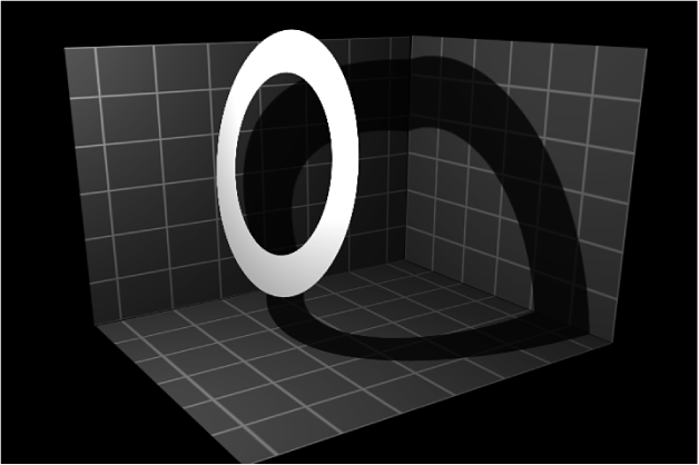 Lienzo y objeto proyectando sombra
