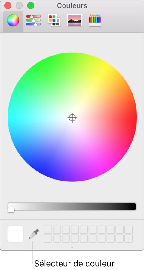 Sélecteur de couleurs dans la fenêtre Couleurs de macOS