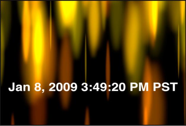 Canevas affichant le générateur Heure Date qui indique la date et l'heure en heures, minutes, secondes et fuseau horaire