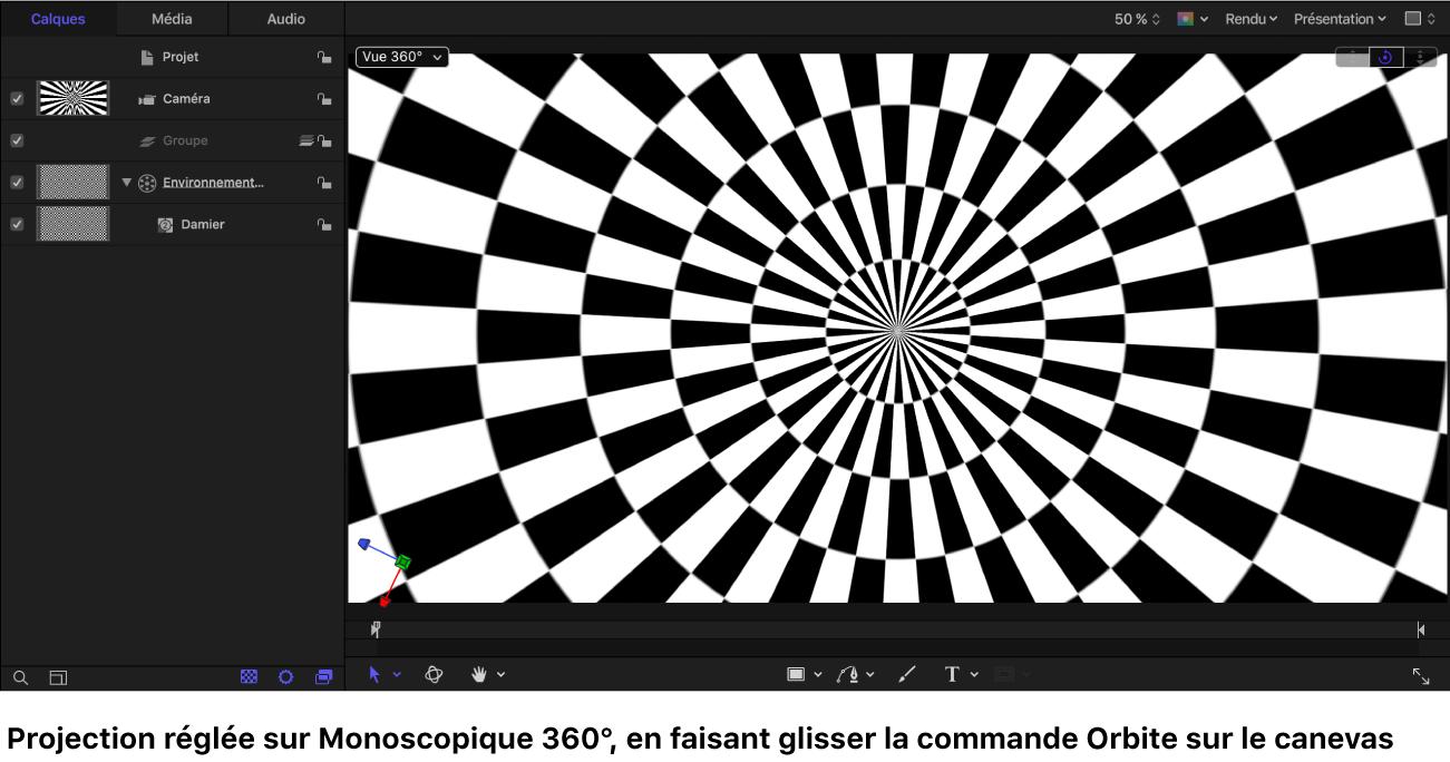Canevas avec un générateur Damier affiché dans la projection monoscopique 360° tout en faisant glisser la commande Orbite