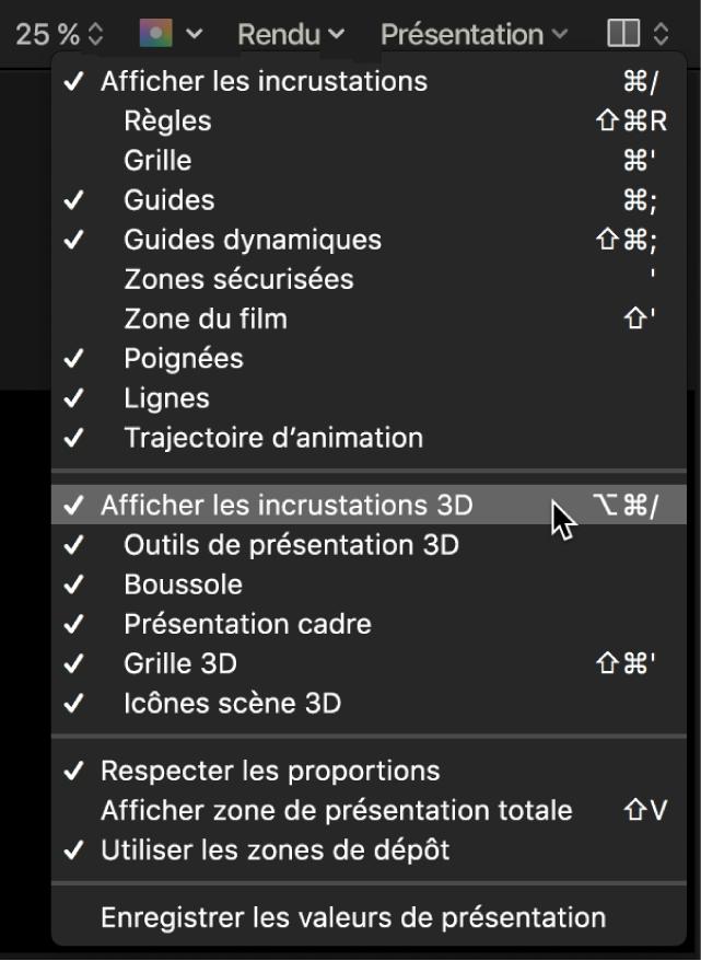 Sélection de l'option «Afficher les incrustations 3D» dans le menu Présentation du canevas