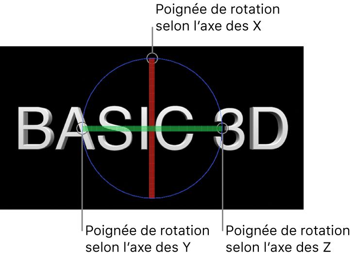 Canevas affichant des poignées3D sur un objet texte3D