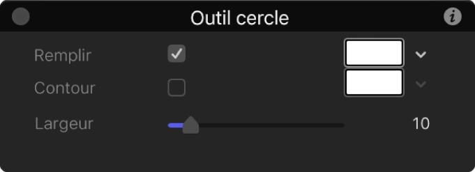 Palette de l'outil Cercle