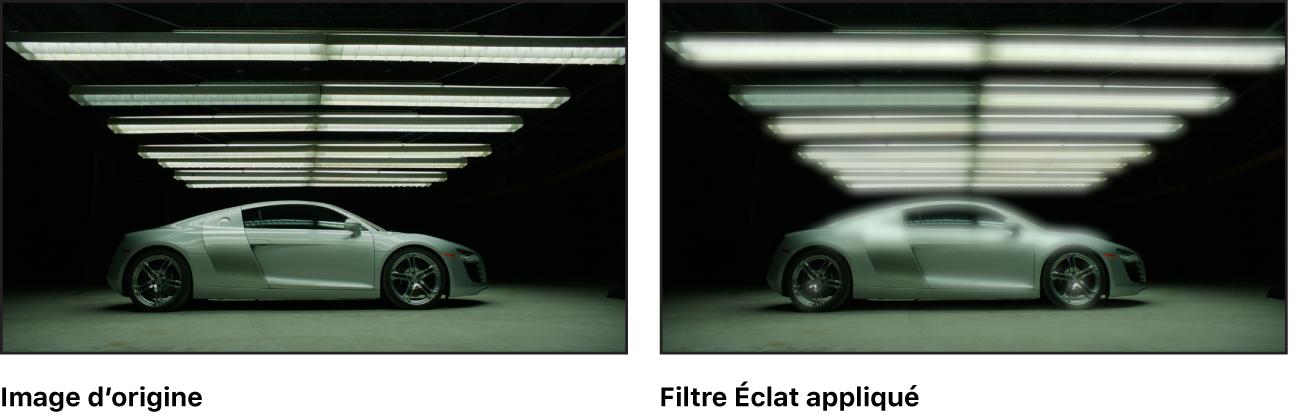 Canevas affichant l'effet du filtre Éclat