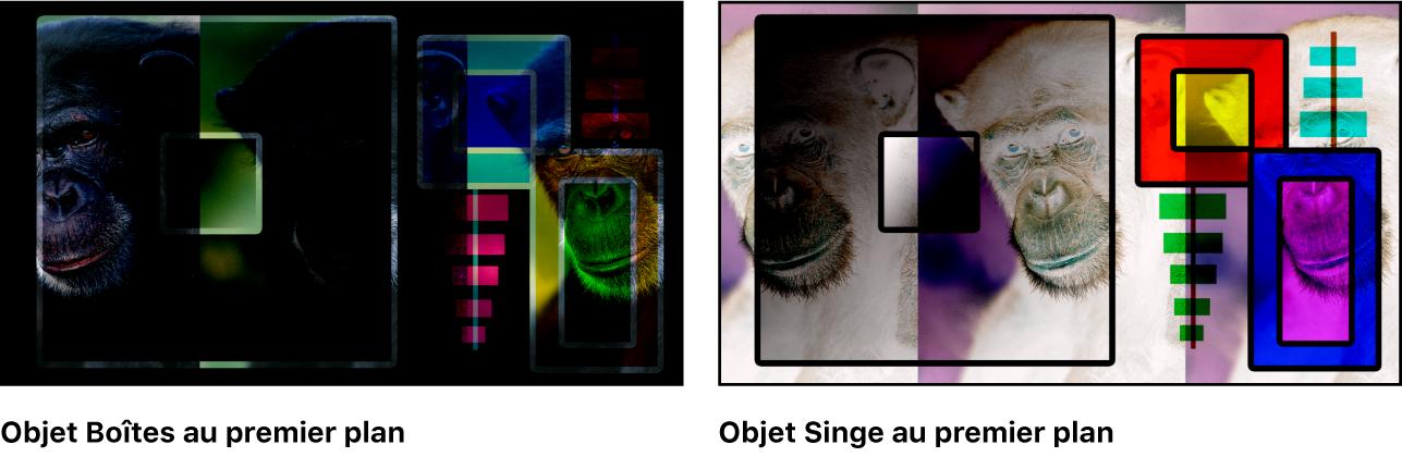 Canevas affichant les boîtes et le singe fusionnés à l'aide du mode de fusion Soustraire