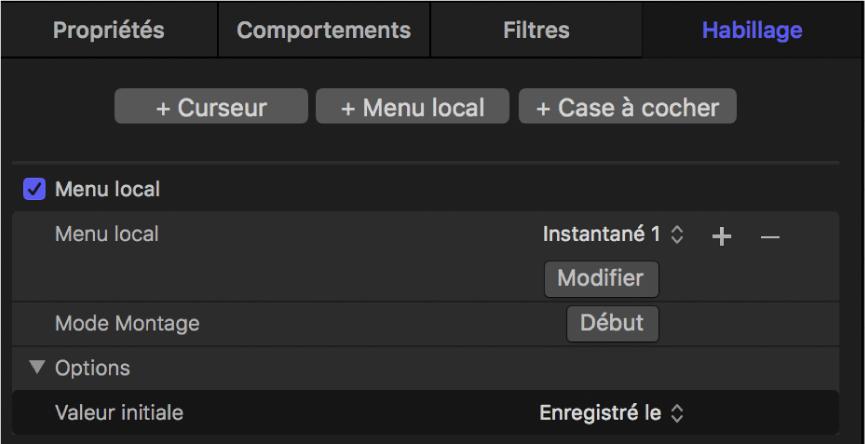 Inspecteur affichant un widget de menu local ajouté
