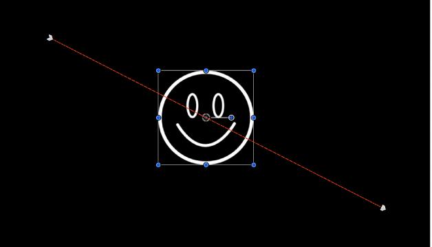 Canevas affichant une trajectoire d'animation générée par les images clés