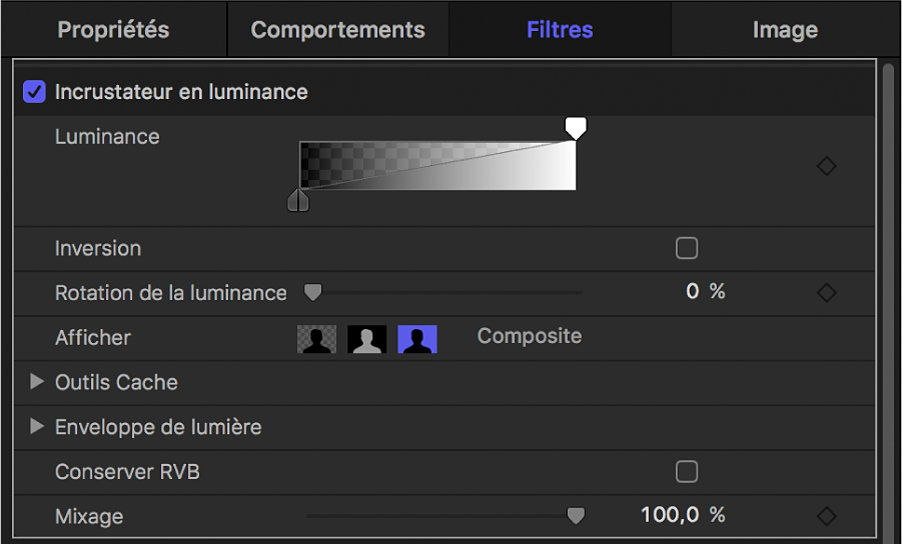 Commandes du filtre Incrustateur en luminance