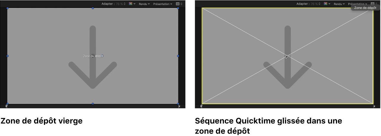Canevas affichant une séquence QuickTime glissée sur une zone de dépôt