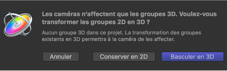 Passage à la zone de dialogue 3D