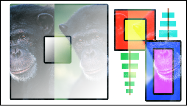 Canevas affichant les boîtes et le singe fusionnés à l'aide du mode Écran