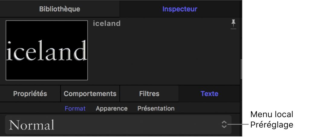 Menu local des préréglages de style de texte de la fenêtre Format de l'inspecteur de texte